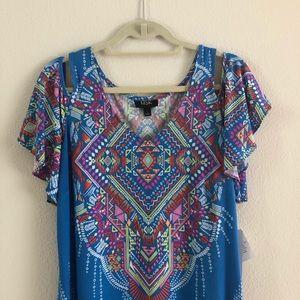 Bright geometric print cold shoulder dress